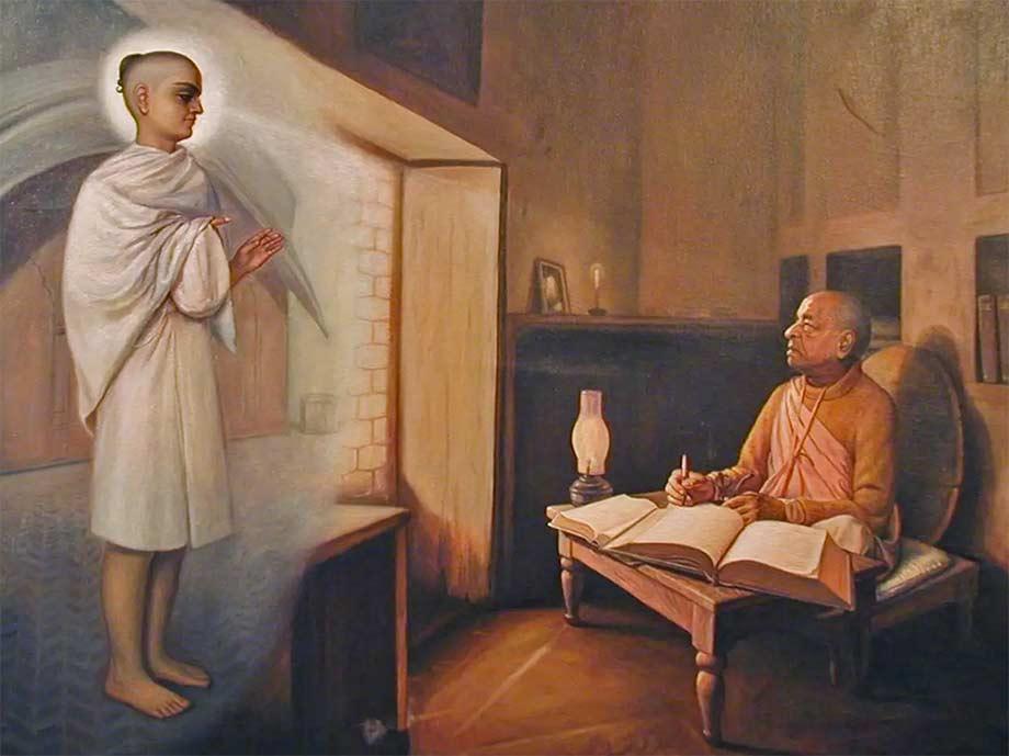 Шрила Прабхупада в храме Радха-Дамодара